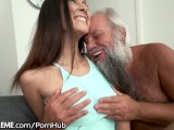 Grandpa Greets Teen Lover In His Towel…