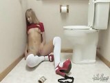 Teen Takes Wall-Dildo In Toilet