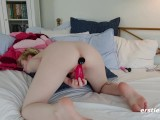 Pearl Fucks Big Dildo With Butt Plug Inserted