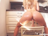 Perfect Babe With Oiled Ass Rides Dildo And Moans Loudly