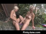 Teen Lesbians With Double Dong Dildo Outdoors