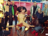 ForBondage – Slutty Brunette Teen Abused At Party In A Restaurant