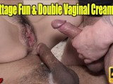 Tiny Teen Frots Cocks & Gets A Double Vaginal Creampie!